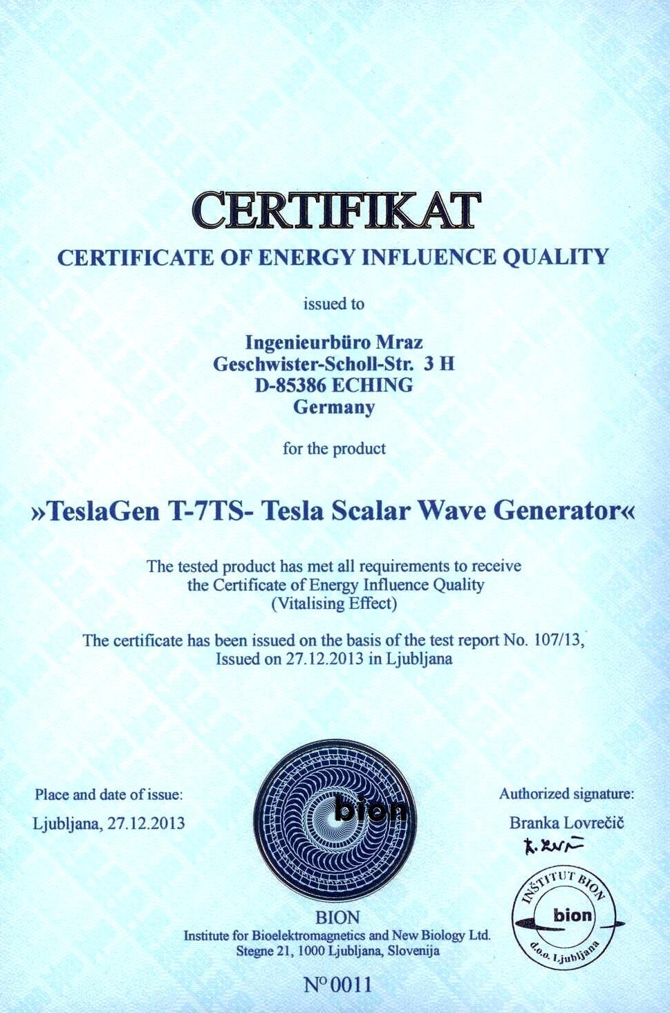 BION certifikat TeslaGen E
